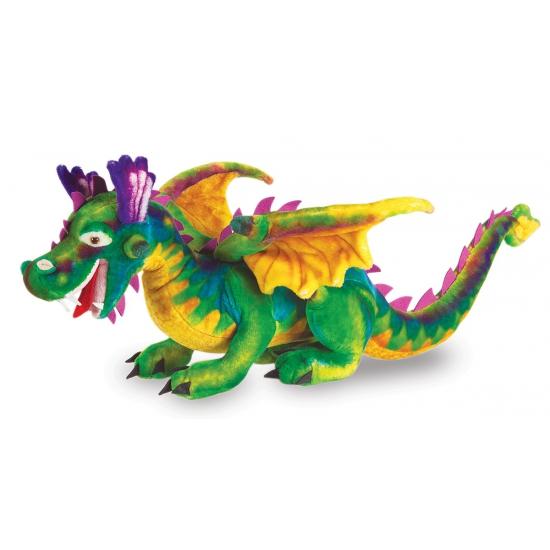 Gekleurde draak knuffel 81 cm