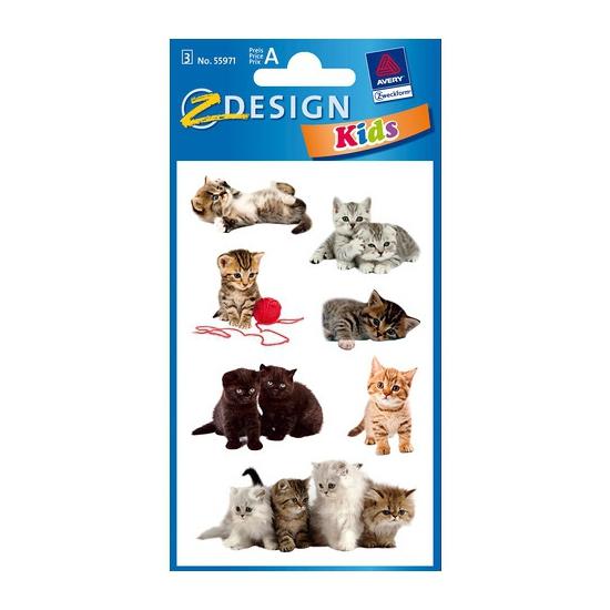 Gekleurde kitten stickertjes 3 vellen