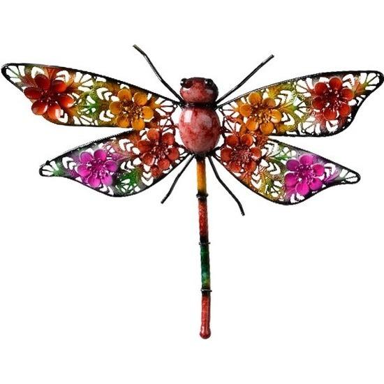 Gekleurde metalen tuindecoratie libelle hangdecoratie 27 x 33 cm cm