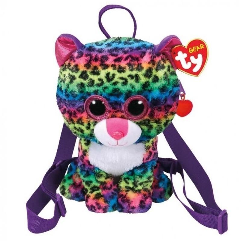 Gekleurde Ty Beanie luipaarden rugzak/rugtas Dotty 15 x 24 cm luipaard schooltas