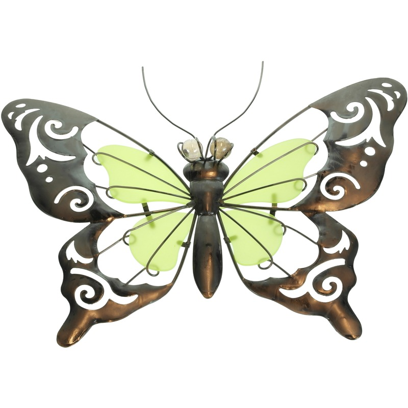 Gele-groene metalen tuindecoratie vlinder 35 cm glow in the dark