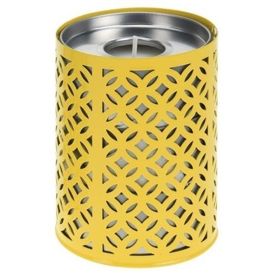 Afbeelding Gele kaarshouder met 3 citronella theelichtjes door Animals Giftshop