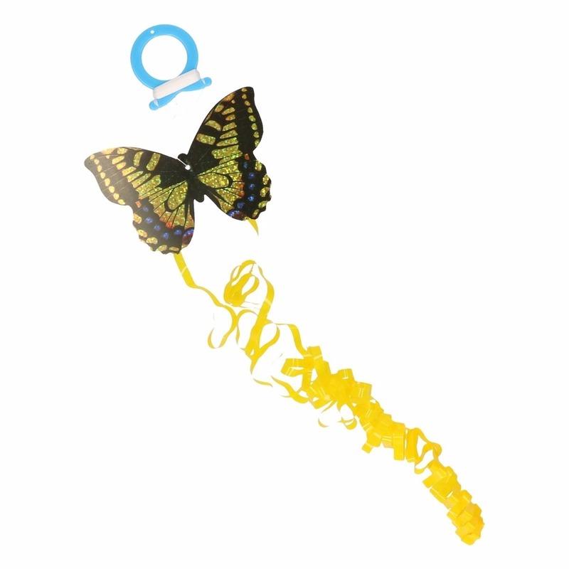 Gele vlinder mini vlieger van 10 x 7 cm