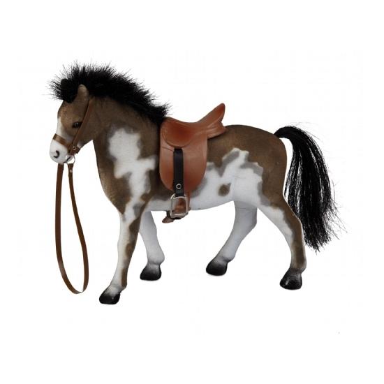 Gevlekt speelgoed paard met zadel