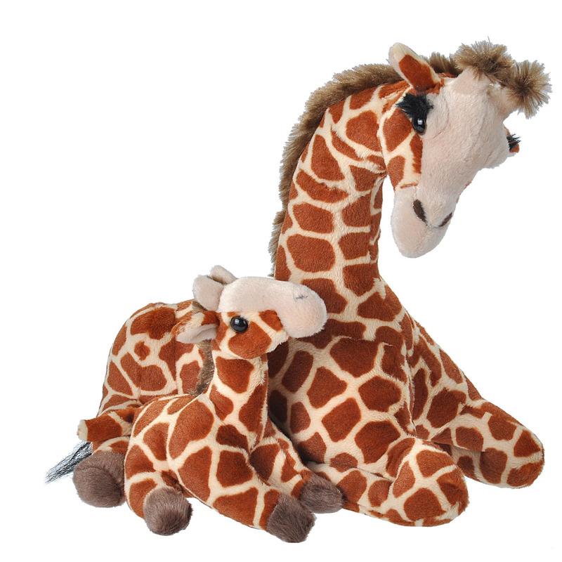 Gevlekte giraffe met baby knuffels 38 cm knuffeldieren