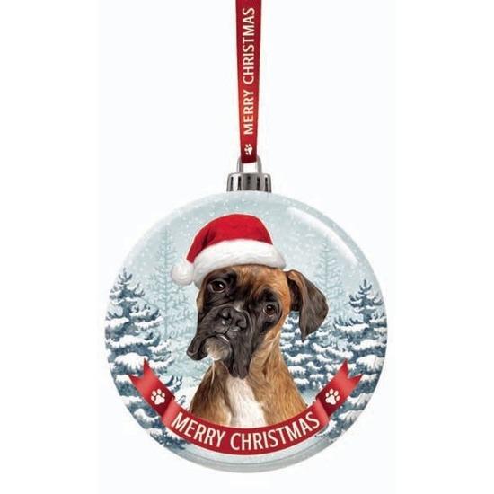 Glazen kerstbal hond Boxer 7 cm