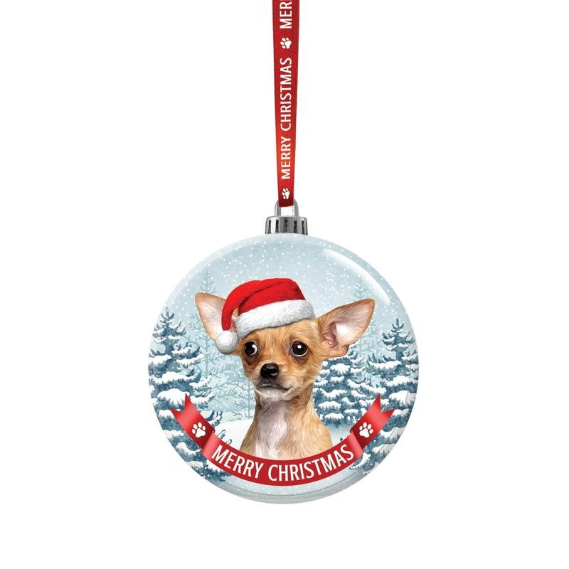 Glazen kerstbal hond Chihuahua 7 cm
