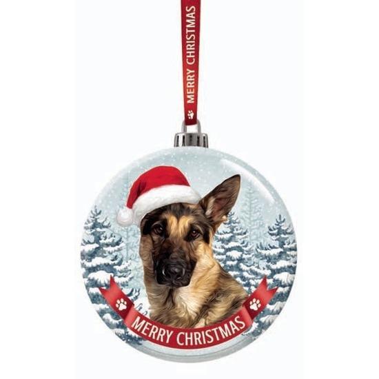 Glazen kerstbal hond Duitse Herder 7 cm