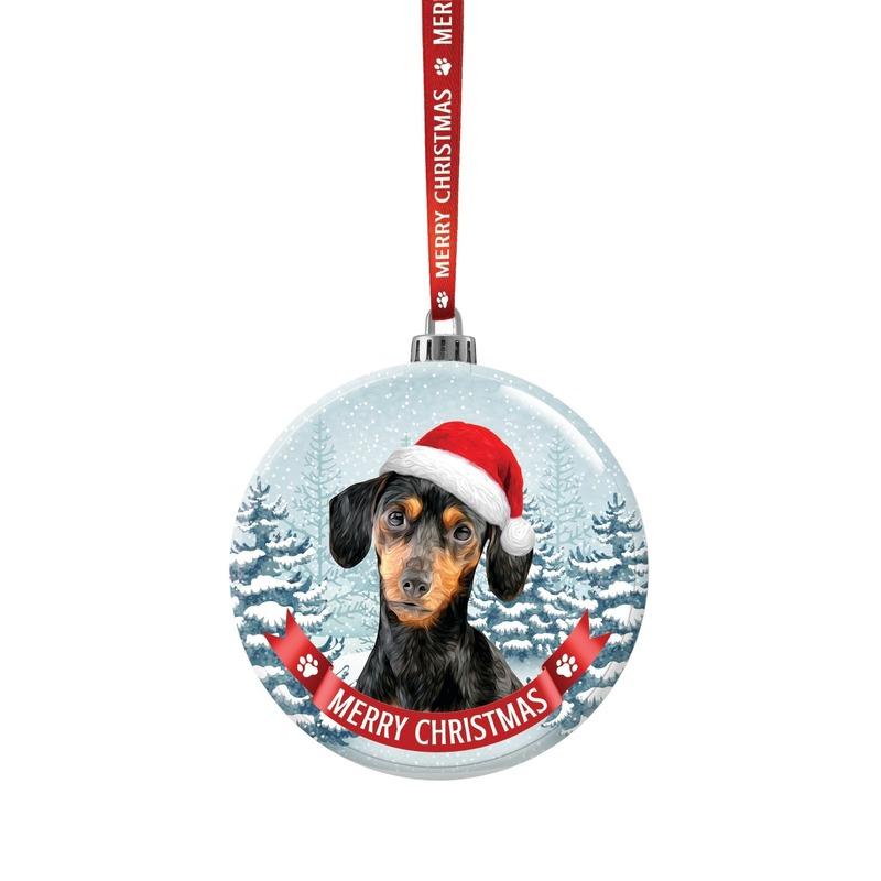 Glazen kerstbal hond Teckel 7 cm
