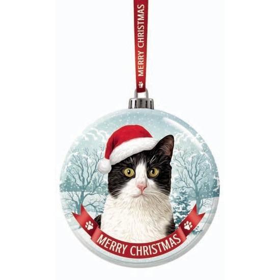 Glazen kerstbal kat/poes zwart/wit 7 cm