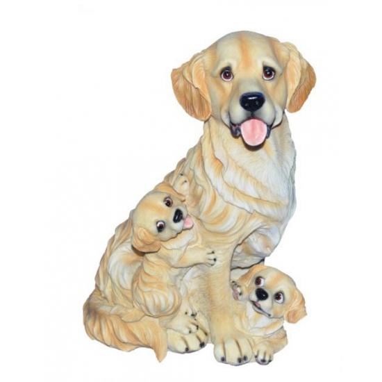 Golden Retriever met puppies beeldje zittend 35 cm