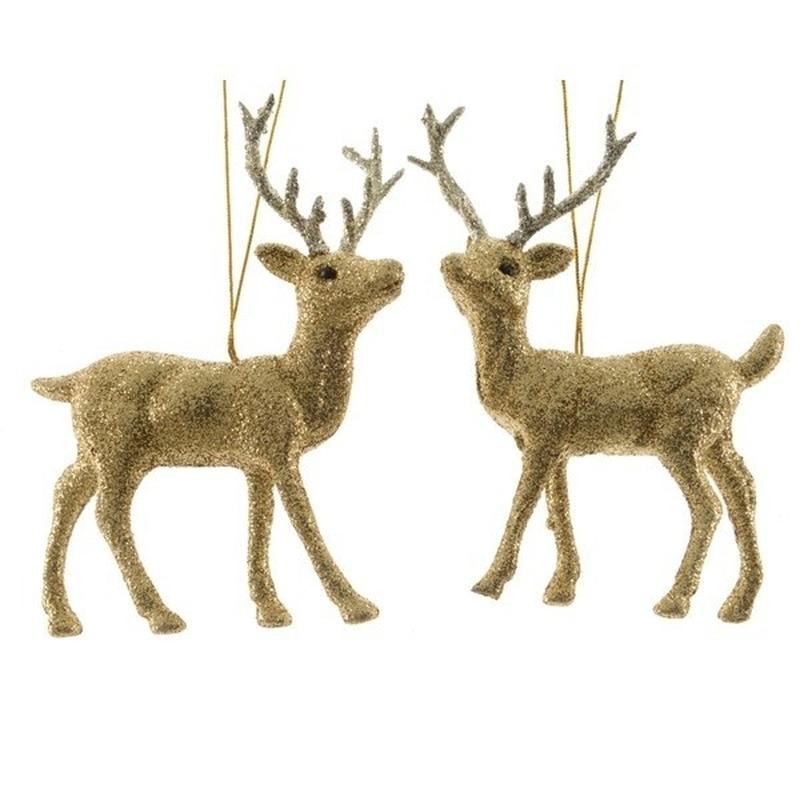 Gouden herten kerstornamenten kersthangers 12 cm