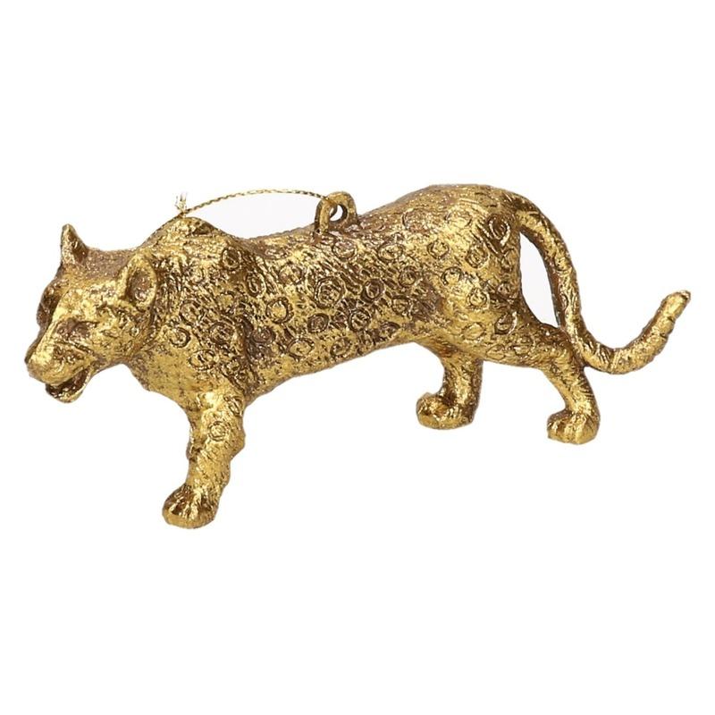 Gouden luipaard kerstornamenten kersthangers 12,5 cm