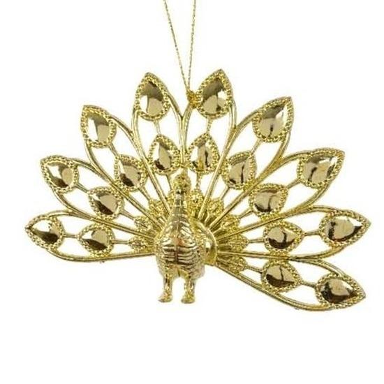 Gouden pauwen kerstornamenten kersthangers 9 cm