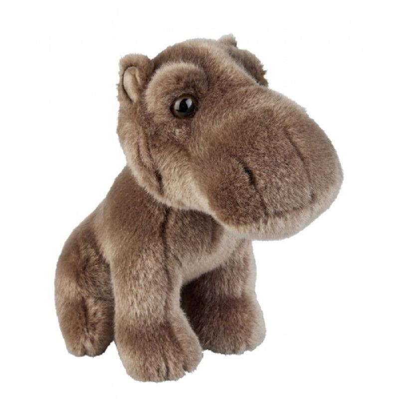 Grijs/bruine nijlpaard knuffel 18 cm knuffeldieren