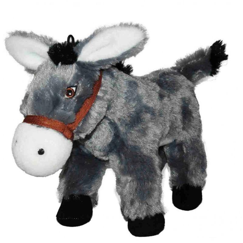 Grijze ezel knuffel 34 cm knuffeldieren