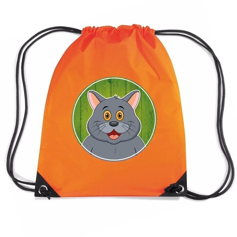 Grijze kat dieren trekkoord rugzak - gymtas oranje voor kinderen