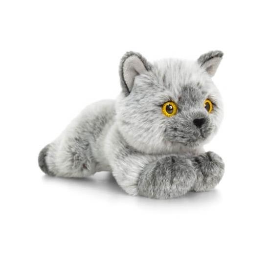 Grijze liggende katten/poezen knuffel 30cm