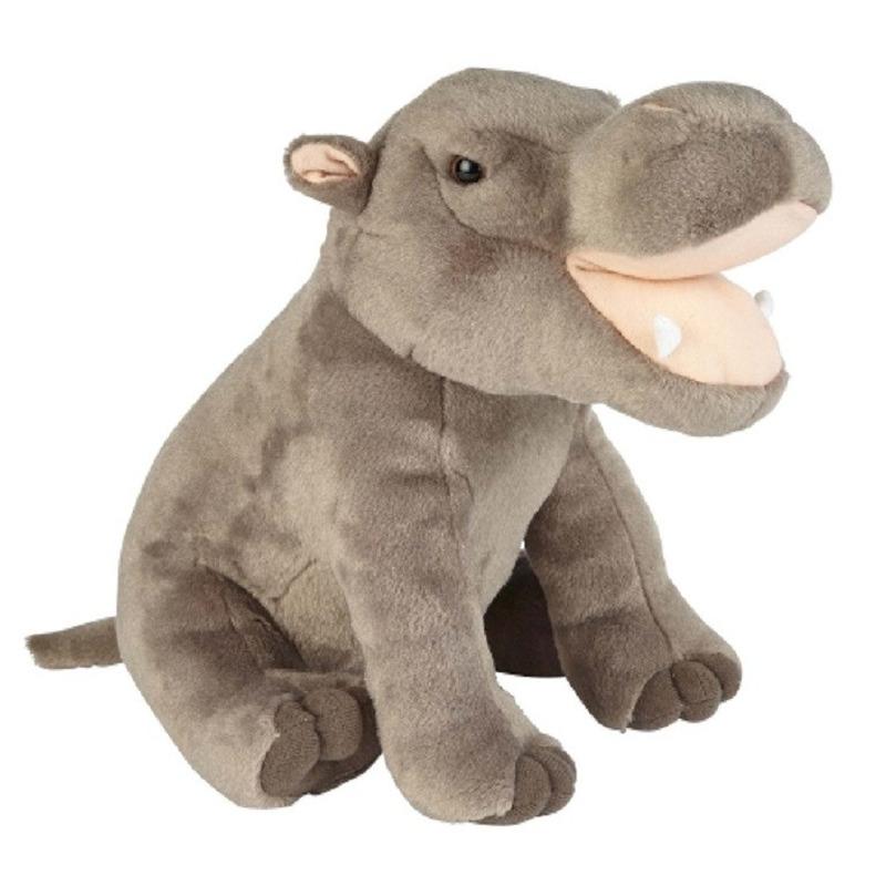 Grijze nijlpaard knuffel 30 cm knuffeldieren