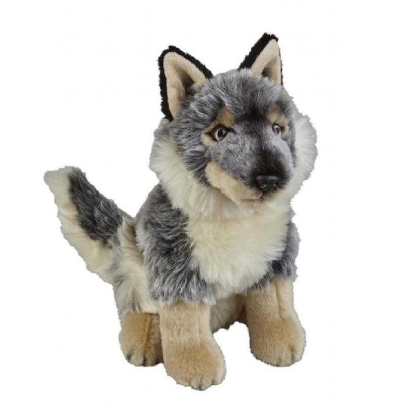Grijze wolf/wolven knuffel 28 cm knuffeldieren