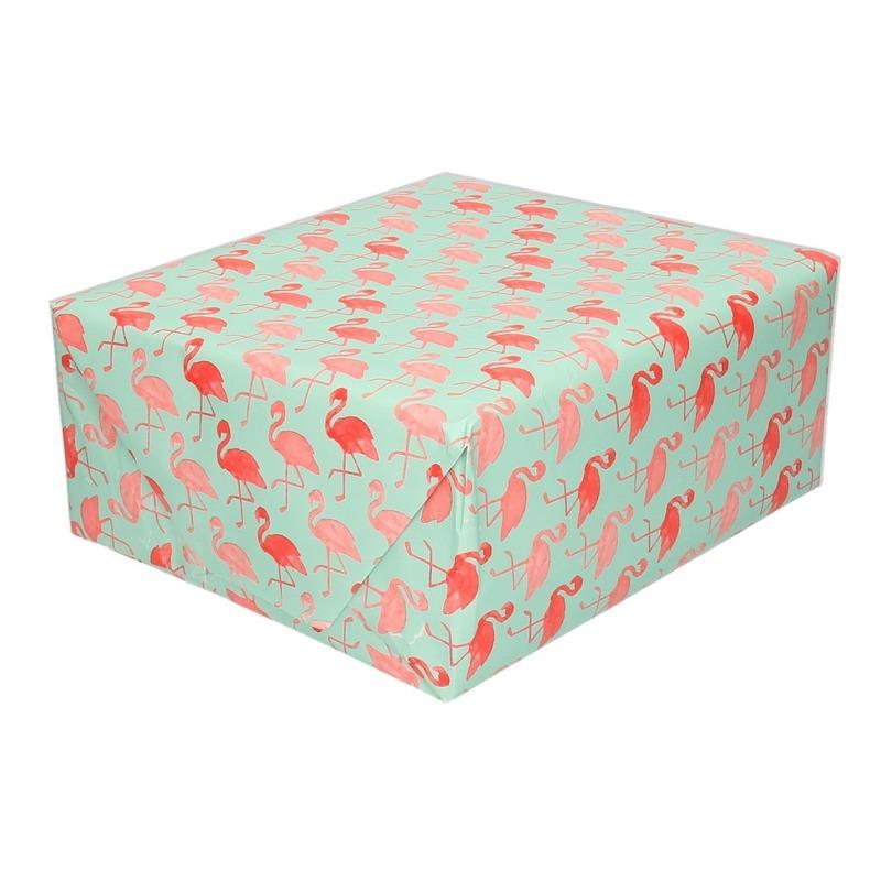 Groen cadeaupapier met flamingo print 70 x 200 cm