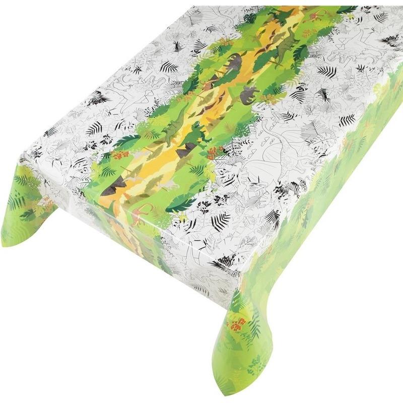 Groen/witte tafelkleden/tafelzeilen dinosaurussen kleurplaten print 140 x 245 cm rechthoekig