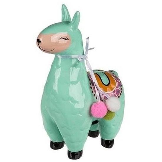 Groene dieren spaarpot alpaca 22 cm