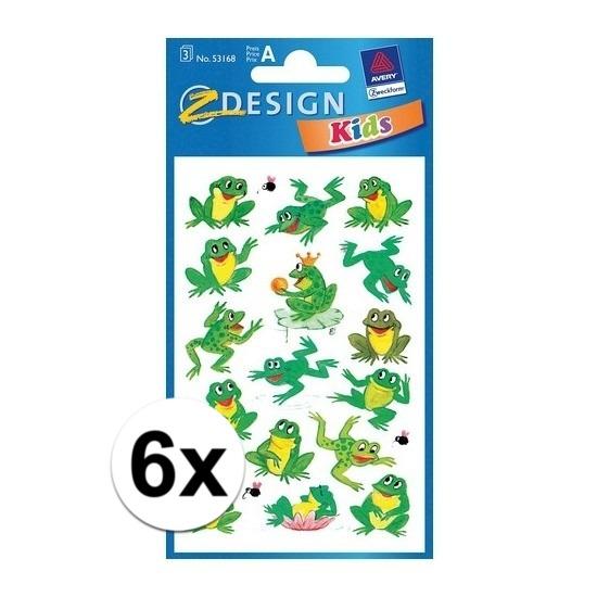 Groene kikker stickertjes 6 vellen