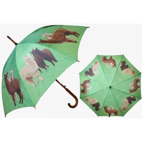 Groene paraplu met alpaca/lama 101 cm