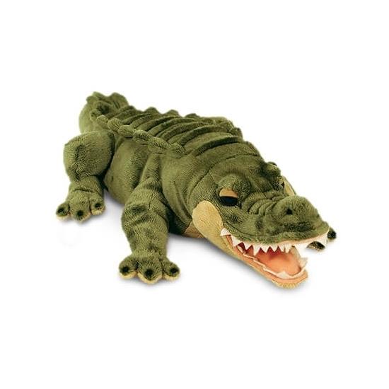 Groene pluche liggende alligator/krokodil 45cm