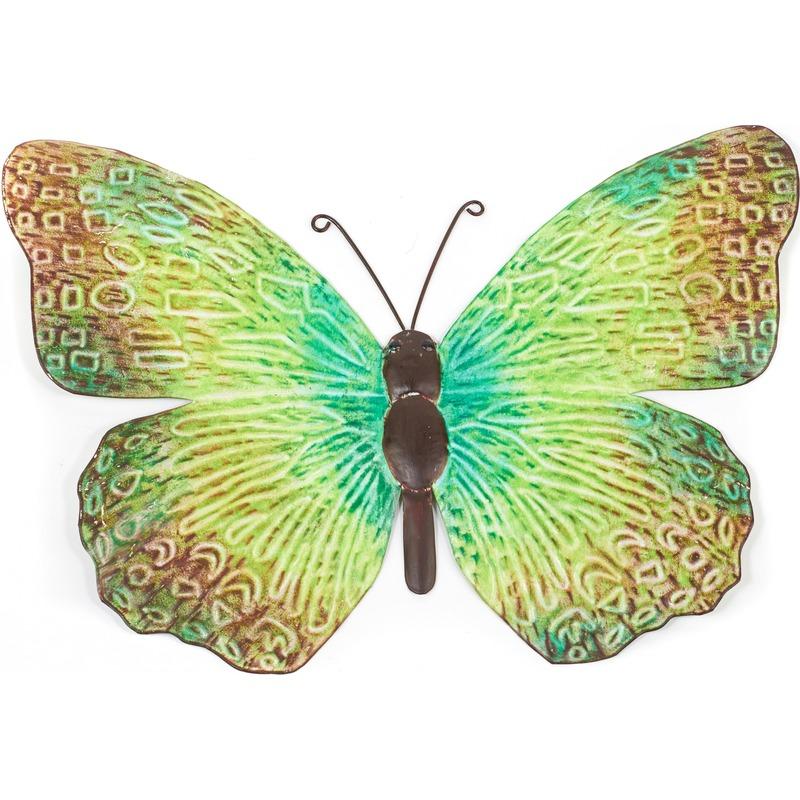 Groene-zwarte metalen tuindecoratie vlinder 39 cm
