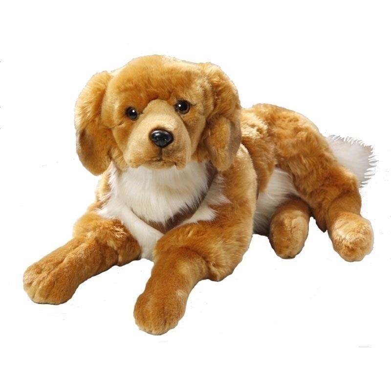 Grote liggende Golden Retriever honden knuffel 50 cm