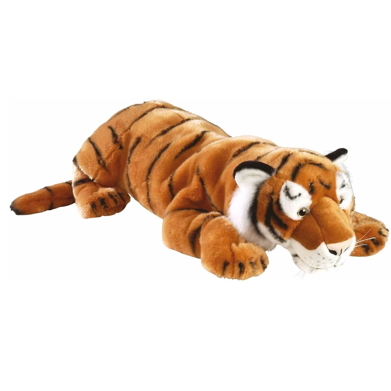 Grote liggende tijger van pluche