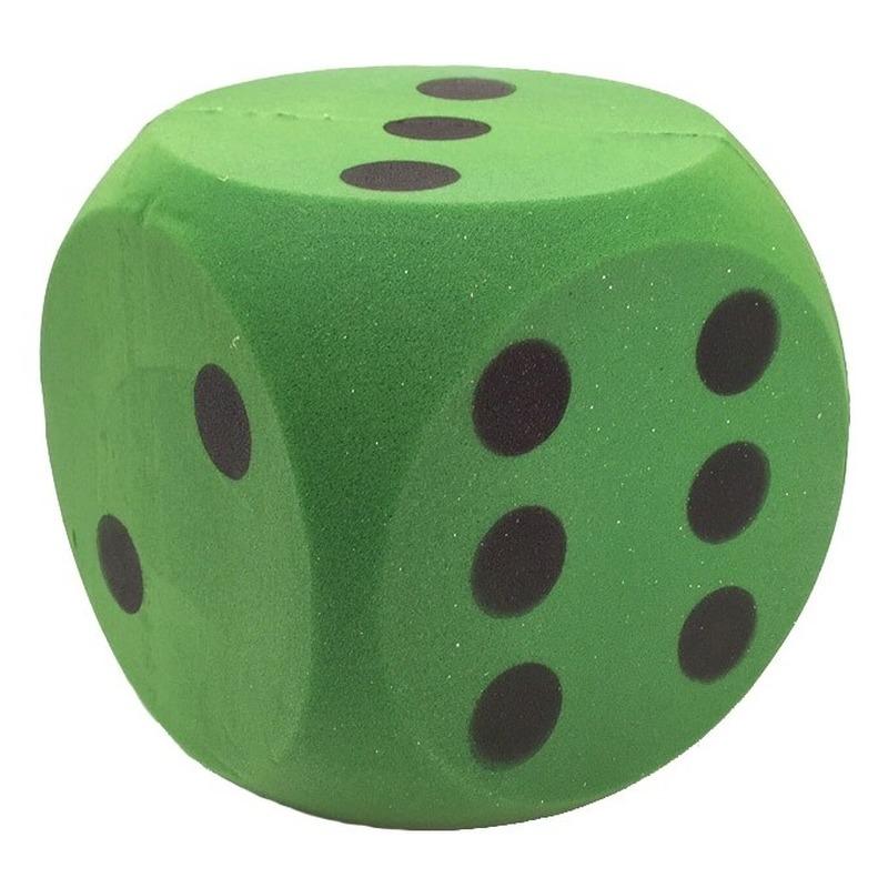 Grote schuimrubberen dobbelsteen groen 16 cm