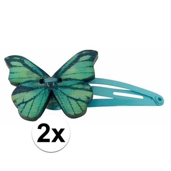 Haarspelden blauw met houten vlinder