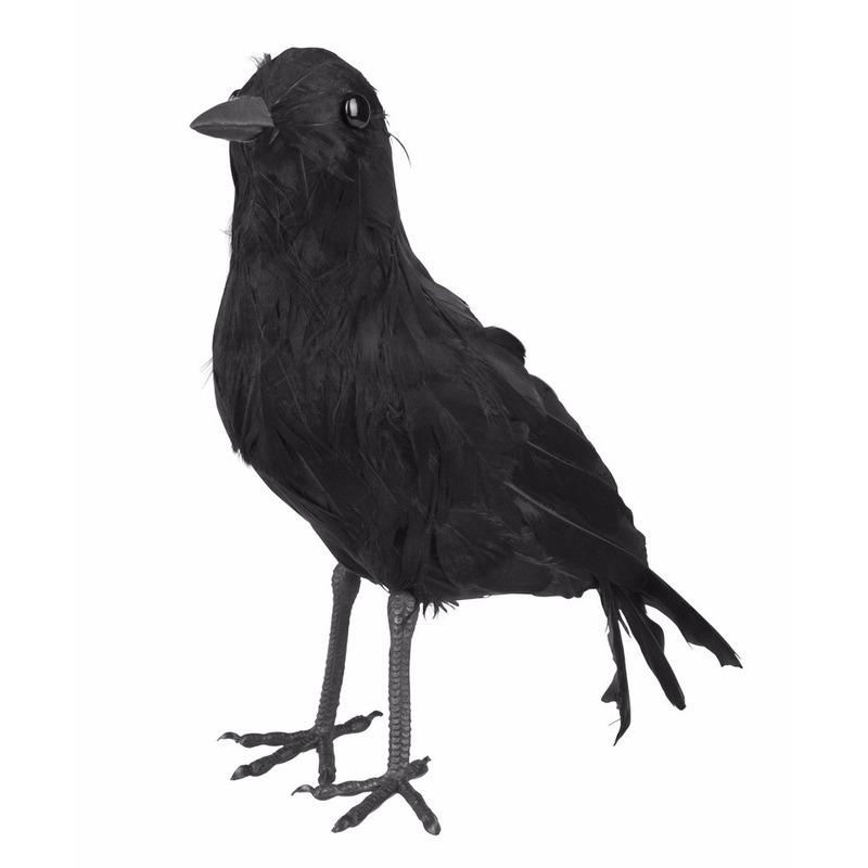 Halloween decoratie zwarte kraai 23 cm