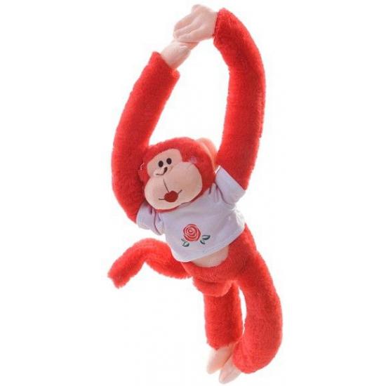 Hangend rood knuffel aapje 40 cm