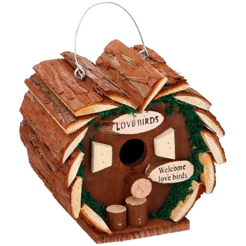 Hartvormig houten vogelhuisje 16 cm