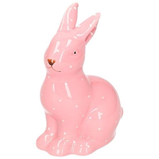 Hazen/konijnen beeldje roze van keramiek 10 cm