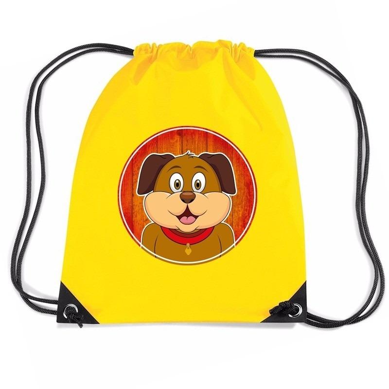 Hond dieren trekkoord rugzak - gymtas geel voor kinderen