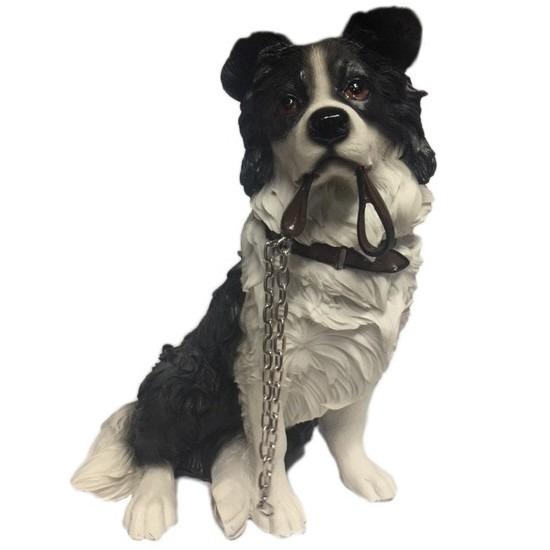 Honden beeldje Border Collie met riem 17 cm