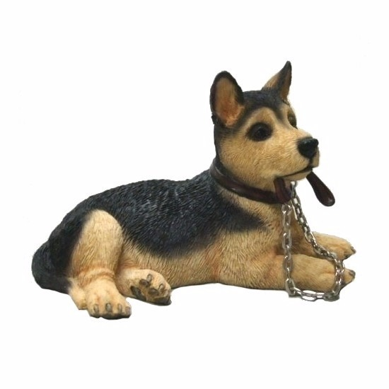 Honden beeldje Duitse Herder met riem
