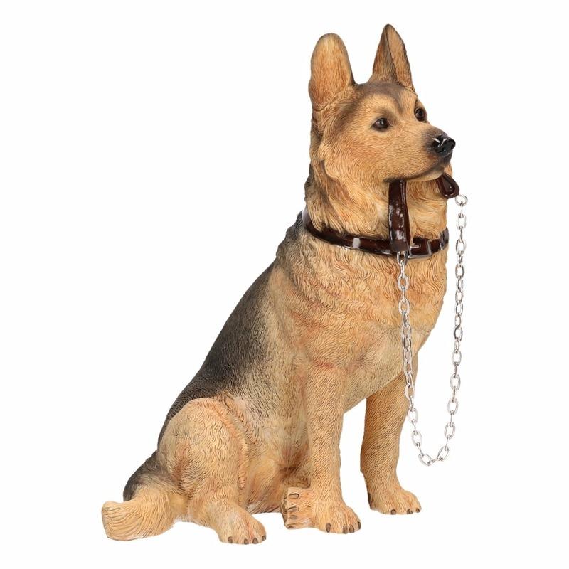 Honden beeldje Duitse Herdershond met riem 19 cm