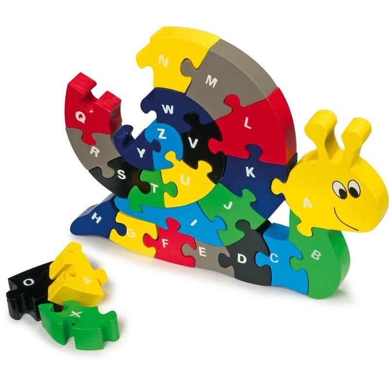 Houten puzzel slak met alfabet