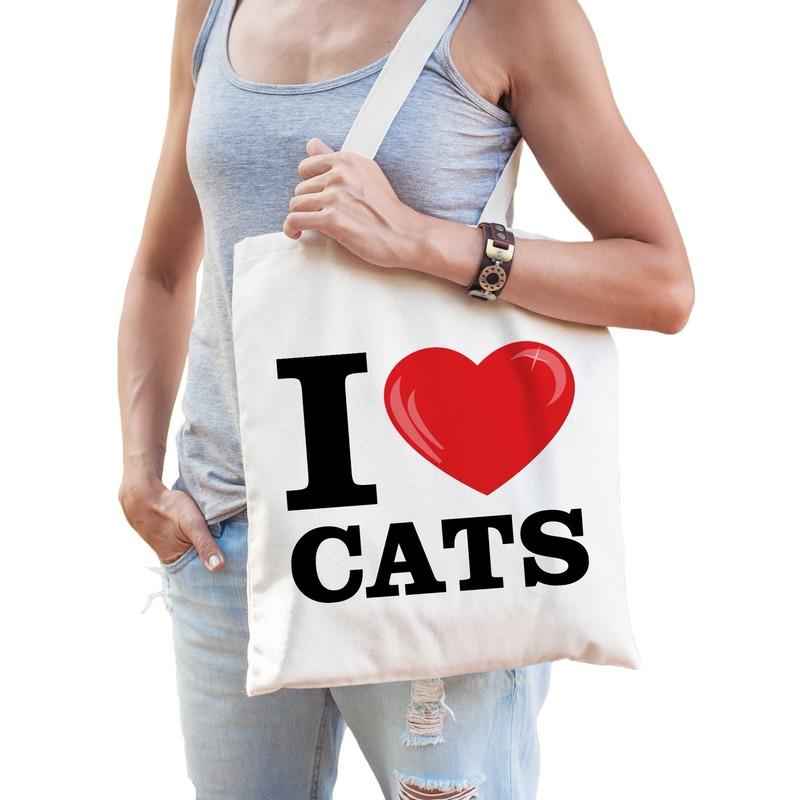 I love cats katoenen tasje