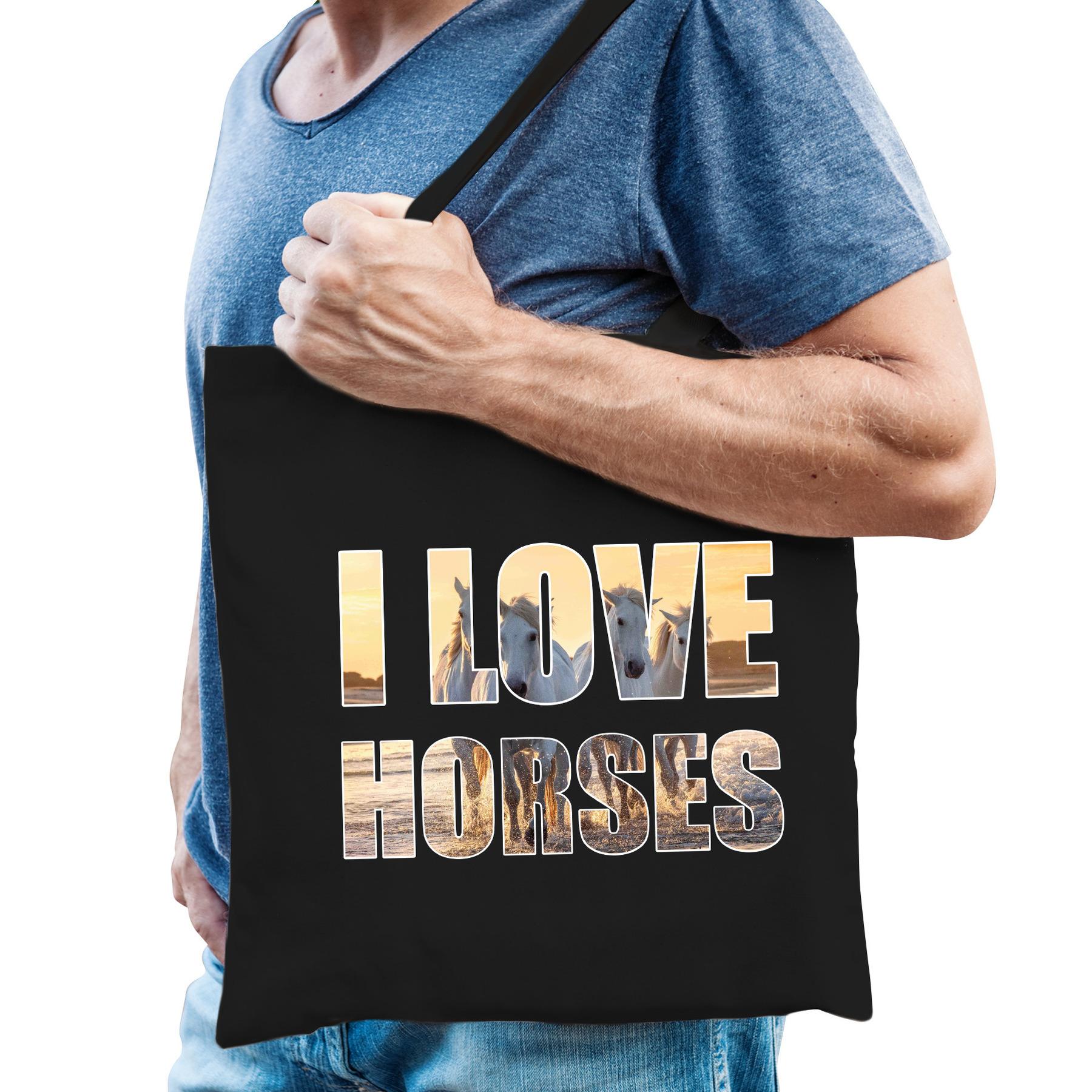 I love horses katoenen kado tasje voor paarden liefhebbers zwart heren