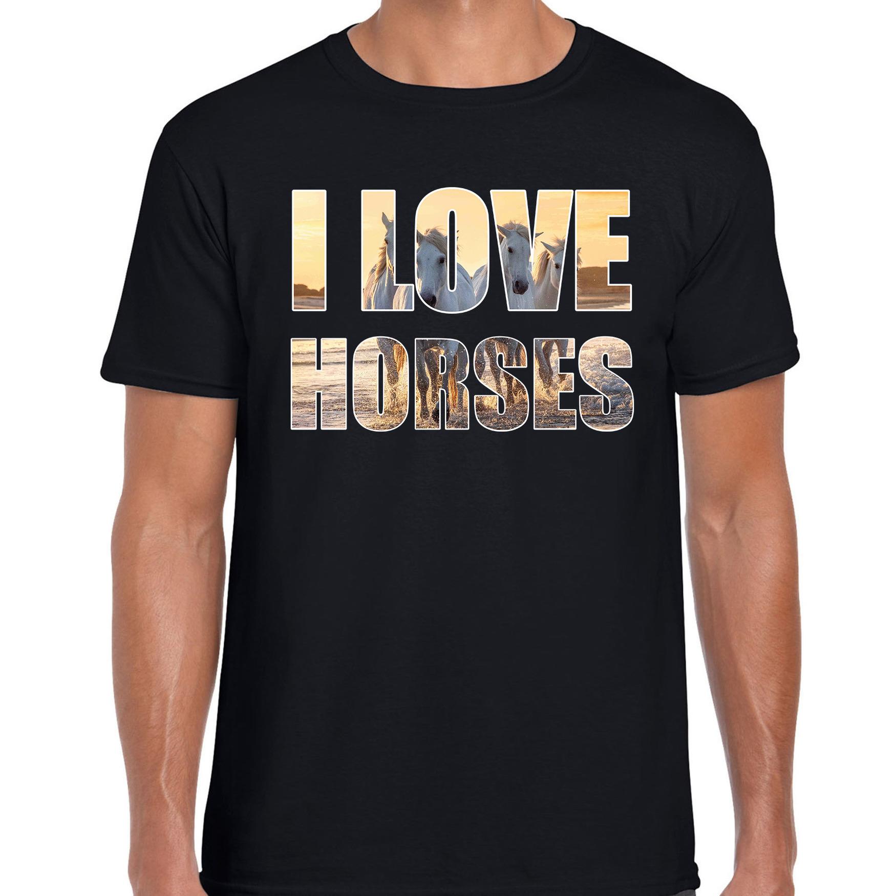 I love horses / paarden dieren shirt zwart heren