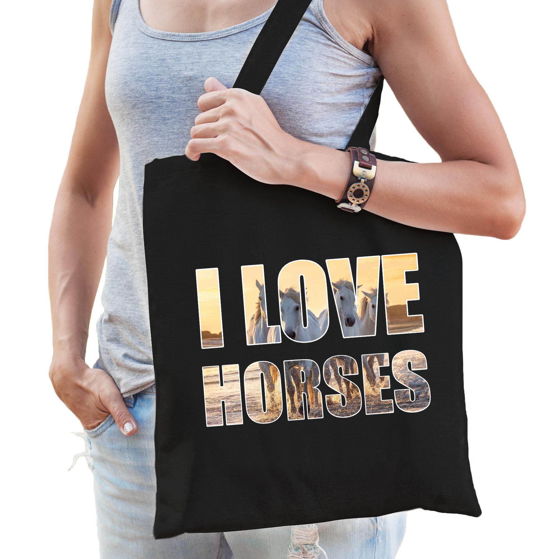 I love horses / paarden katoenen tasje zwart dames