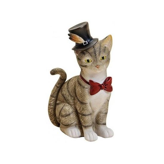 Kado dieren spaarpot grijze kat/poes met hoed en strikje 22 cm