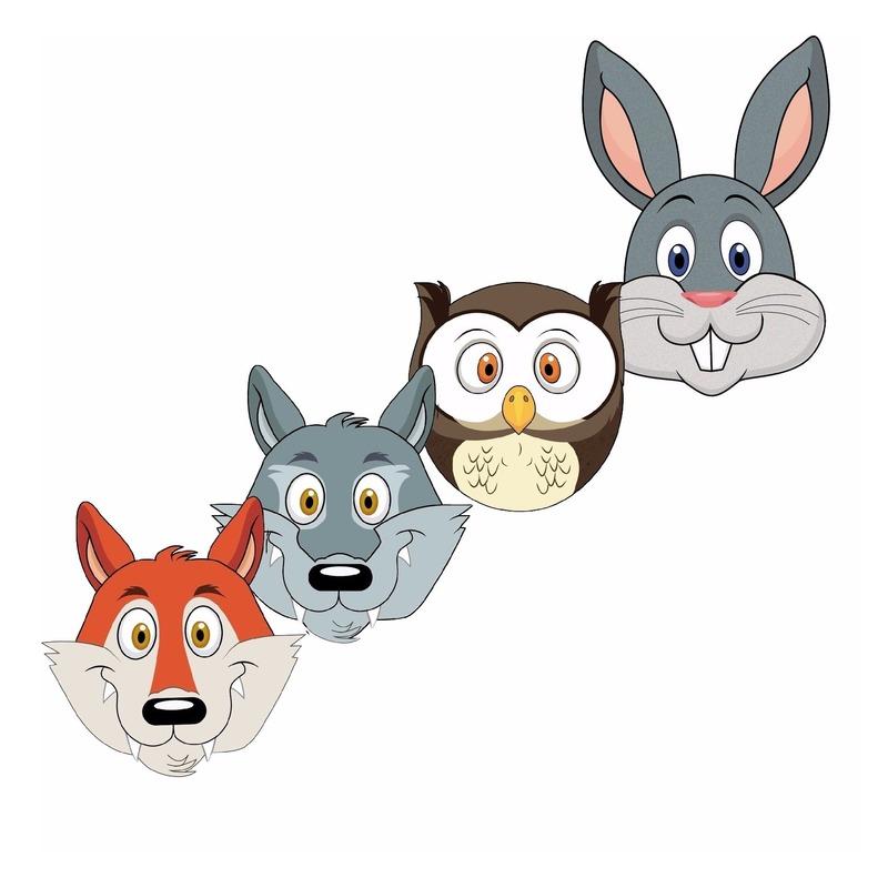 Kleurplaten Van Bosdieren.Dieren Maskers Bosdieren Voor Kids Dieren Artikelen Cadeaus